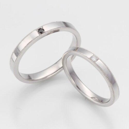 Pt900 ミル結婚指輪オーダーメイド<br>ダイヤモンド一粒ずつサービス
